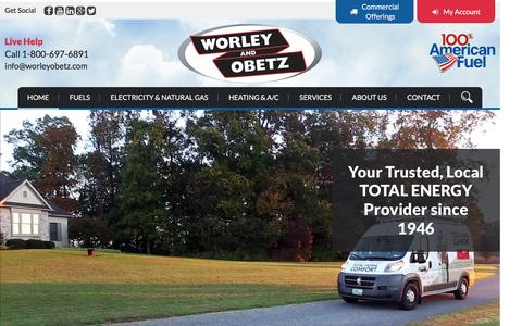 Screenshot of Home Page worleyobetz.com - Energy Providers in PA   Energy Suppliers - Worley & Obetz - captured Feb. 17, 2016