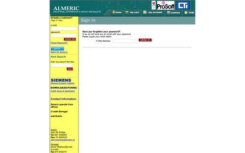 Screenshot of Login Page almeric.ie - Almeric Ireland: - captured Feb. 4, 2016