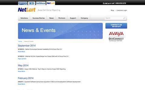 Screenshot of Press Page netlert.com - NetLert - News & Events - captured Oct. 7, 2014