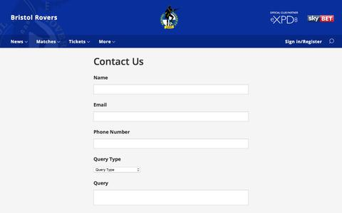 Screenshot of Contact Page bristolrovers.co.uk - Contact Us - Bristol Rovers - captured Oct. 11, 2017