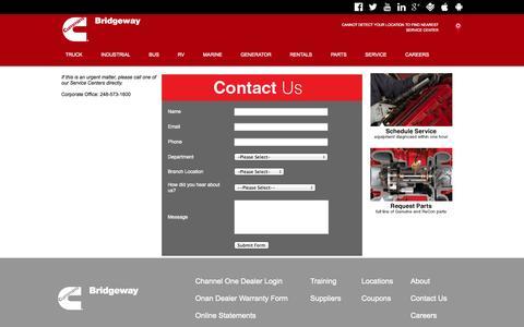 Screenshot of Contact Page cumminsbridgeway.com - Contact Cummins Bridgeway - captured Sept. 30, 2014