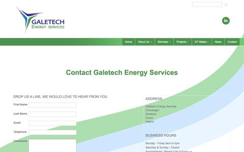 Screenshot of Contact Page galetechenergy.com - Contact Galetech Energy Services for Wind and Solar Industries requirements. The Galetech team draws upon a wealth of experience required to successfully develop and execute wind energy projects - captured Oct. 20, 2016