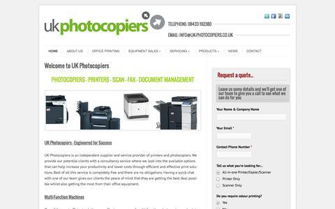 Screenshot of Home Page uk-photocopiers.co.uk - Photocopiers, Printers, Sales & Leasing, Repairs   UK Photocopiers - captured Oct. 3, 2014