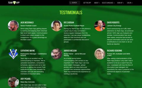 Screenshot of Testimonials Page teamapp.com - Team App Testimonials - captured Feb. 12, 2016