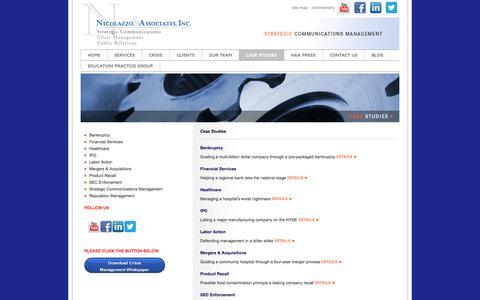 Screenshot of Case Studies Page nicolazzo.com - Issues Management | Message Development | Strategic Planning | - captured Oct. 26, 2014