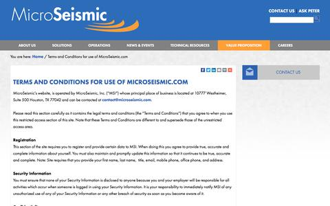 Screenshot of Terms Page microseismic.com - Microseismic - Terms and Conditions for use of MicroSeismic.com - captured Oct. 18, 2017
