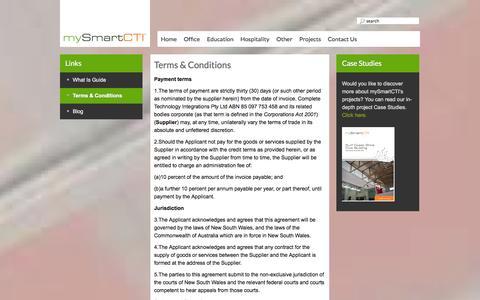 Screenshot of Terms Page mysmartcti.com.au - Terms & Conditions - mySmart CTI - captured Oct. 26, 2014