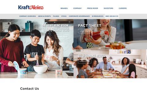 Screenshot of Contact Page kraftheinzcompany.com - Contact Us | The Kraft Heinz Company - captured Nov. 30, 2019