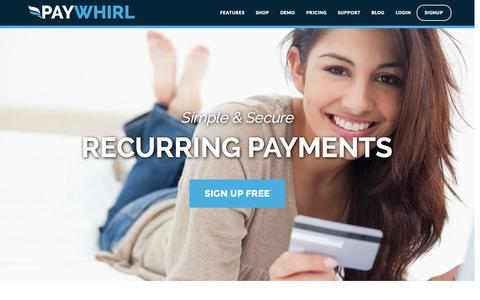 Screenshot of Home Page paywhirl.com - Recurring Payments and Subscriptions - Paywhirl - captured Jan. 22, 2015