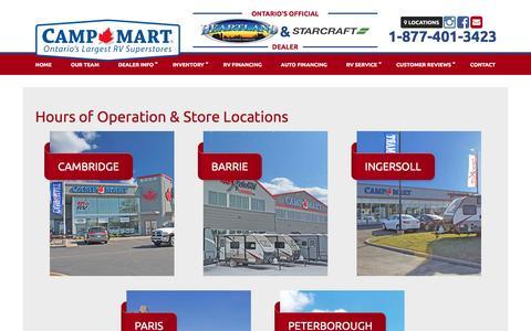 Screenshot of Locations Page 401auto.ca - Hours and Location | 401 Auto RV | Cambridge Ontario - captured Dec. 2, 2016