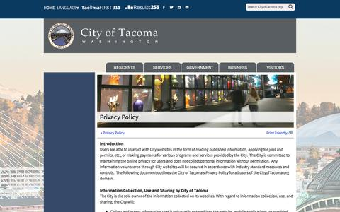 Screenshot of Privacy Page cityoftacoma.org - Privacy Policy - City of Tacoma - captured July 18, 2018