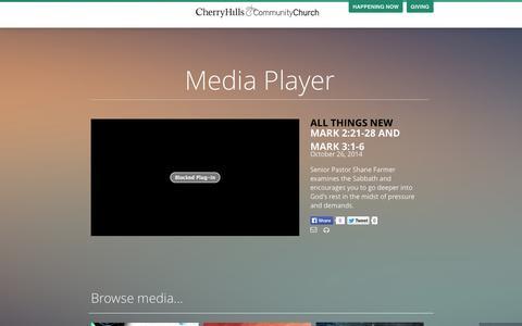 Screenshot of Press Page chcc.org - Media - Cherry Hills Community Church - captured Nov. 1, 2014