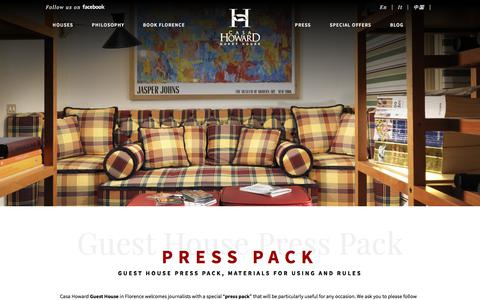 Screenshot of Press Page casahoward.com - Guest House press pack - guest house - press pack - captured Nov. 25, 2017