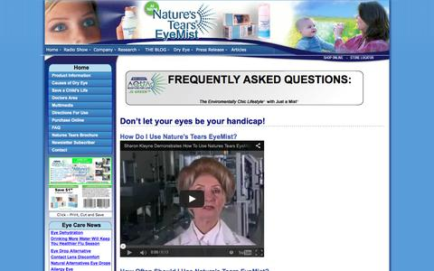 Screenshot of FAQ Page naturestears.com - Natures Tears® EyeMist® - FREQUENTLY ASKED QUESTIONS - captured March 3, 2016