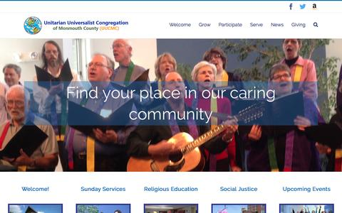 Screenshot of Home Page uucmc.org - UUCMC – Unitarian Universalist Congregation of Monmouth County - captured Nov. 28, 2016