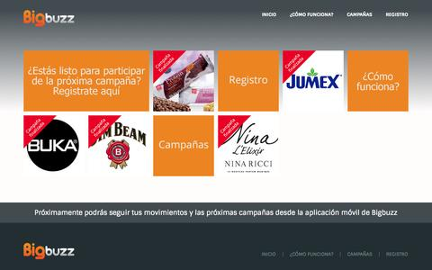 Screenshot of Home Page bigbuzz.cl - BigBuzz - Líder en Marketing Boca a Boca en Chile - captured Oct. 5, 2014
