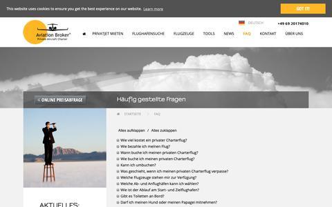 Screenshot of FAQ Page aviation-broker.com - Fragen (FAQ) - captured Jan. 10, 2019