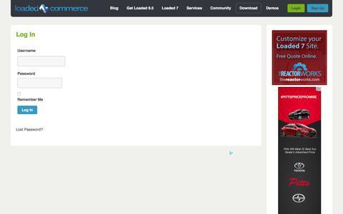 Screenshot of Login Page loadedcommerce.com - Log In - Loaded CommerceLoaded Commerce - captured Jan. 31, 2016