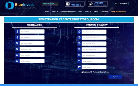 Screenshot of Signup Page centreinvestgroup.com - centreinvestgroup.com - captured Dec. 25, 2016