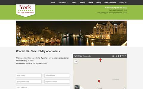 Screenshot of Contact Page york-holiday-apartments.co.uk - Contact Us - Luxury Accommodation in York   York Holiday Apartments - captured Oct. 27, 2014