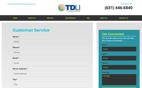 Screenshot of Support Page tdli.net - Customer Service | Long Island Business Phone Systems - captured Oct. 20, 2018