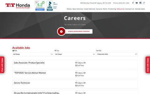 Screenshot of Jobs Page tandthonda.ca - Honda Careers Calgary   T & T Honda Calgary Honda - captured Sept. 20, 2018