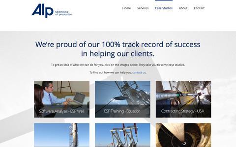 Screenshot of Case Studies Page alperform.com - Optimising Oil Production – ALP Case Studies - Optimising Oil Production - ALP - captured Oct. 4, 2014