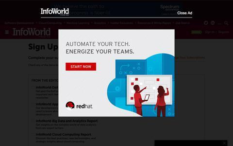 Screenshot of Signup Page infoworld.com - Newsletters | InfoWorld - captured Nov. 6, 2018