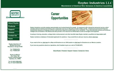 Screenshot of Jobs Page roytecind.com - Careers @ Roytec Industries - captured Oct. 6, 2014