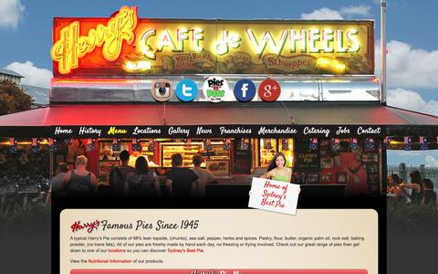 Screenshot of Menu Page harryscafedewheels.com.au - Our Menu - Harrys Cafe De Wheels - captured Nov. 4, 2018