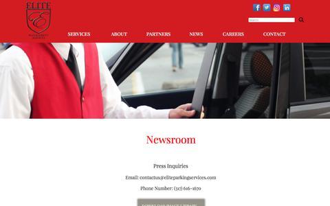 Screenshot of Press Page eliteparkingservices.com - Elite Management: Newsroom - captured July 29, 2017