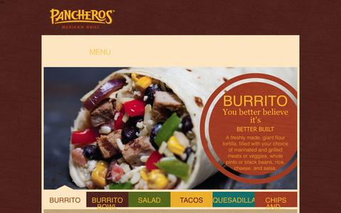 Screenshot of Menu Page pancheros.com - Menu   Pancheros Mexican Grill - captured Oct. 1, 2014