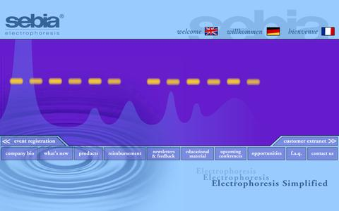 Screenshot of Home Page sebia-usa.com - Sebia Electrophoresis - Clearly Superior. . .Automatically Better - captured Oct. 6, 2014