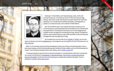Screenshot of About Page peat.org - About Peat :: peat bakke - captured May 28, 2016