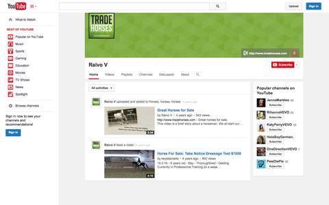 Screenshot of YouTube Page youtube.com - Raivo V  - YouTube - captured Nov. 4, 2014
