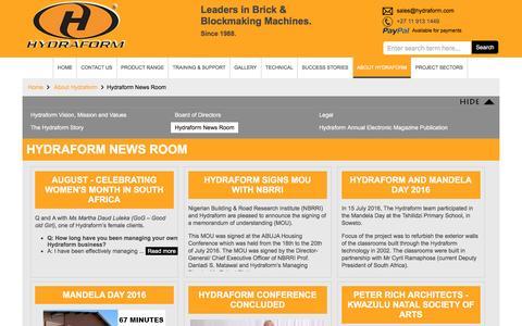 Screenshot of Press Page hydraform.com - News Room    Hydraform - captured Aug. 29, 2016