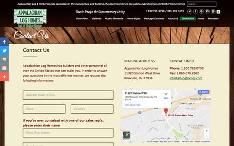 Screenshot of Contact Page alhloghomes.com - Contact Us - Appalachian Log & Timber Homes - Rustic Design for Contemporary Living. - captured Nov. 21, 2016