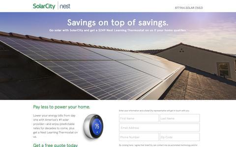 Screenshot of Landing Page solarcity.com - Nest Offer | SolarCity - captured Aug. 17, 2016