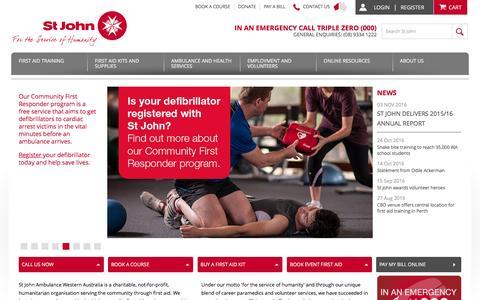 Screenshot of Home Page stjohnambulance.com.au - Ambulance Services - First Aid Provider - St John Ambulance WA - captured Dec. 1, 2016