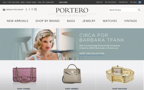 Screenshot of Home Page portero.com - Designer Handbags | Luxury Watches & Jewelry | Portero Luxury - captured Sept. 17, 2014