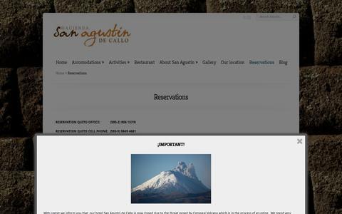 Screenshot of Contact Page incahacienda.com - Reservations | Hacienda San Agustin de Callo - captured Jan. 15, 2016