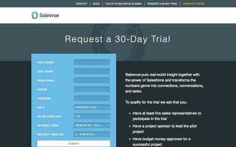 Screenshot of Trial Page salesvue.com - Request a 30-Day Trial - Salesvue - captured Oct. 28, 2014