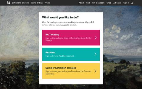 Screenshot of Login Page royalacademy.org.uk - Royal Academy of Arts | Account - captured June 26, 2017