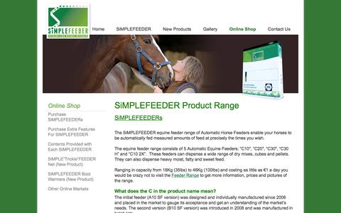 Screenshot of Products Page simplefeeder.com - SiMPLEFEEDER | The Automatic Feeder Product Range - captured Feb. 23, 2016