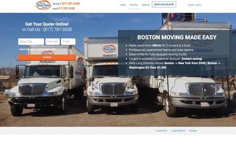 Screenshot of Pricing Page bostonbestrate.com - Boston movers, Boston moving company, Movers in Boston MA - Boston Best Rate Moving Company - captured May 7, 2017