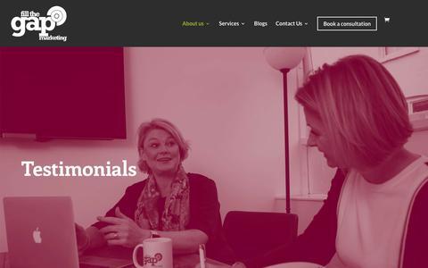 Screenshot of Testimonials Page fillthegapmarketing.co.uk - Testimonials - Fill The Gap Marketing - captured Jan. 26, 2020