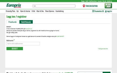Screenshot of Login Page europris.no - Europris - captured Nov. 12, 2016