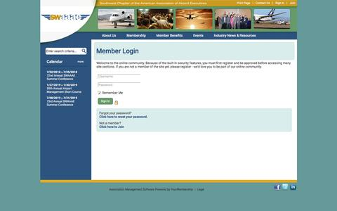 Screenshot of Login Page swaaae.org - Southwest Chapter of American Association of Airport Executives - captured July 26, 2018