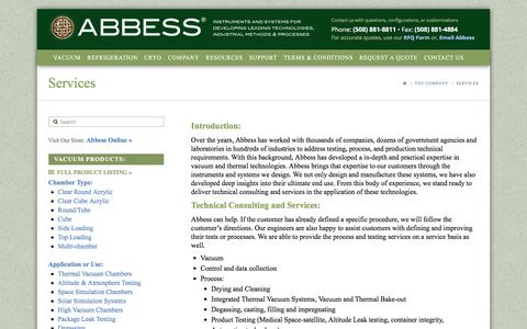 Screenshot of Services Page abbess.com - Services - Abbess Instruments - Vacuum Chambers - Pumps and Systems - Refrigeration and Cryogenics - captured April 10, 2017