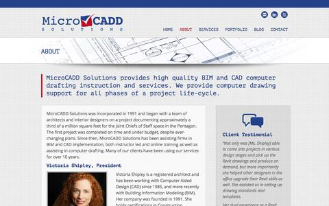 Screenshot of About Page microcaddsolutions.com - About - MicroCADD Solutions, Inc. - captured Feb. 13, 2016